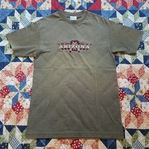 Vtg Arizona Embroidered Spellout Adult Tee